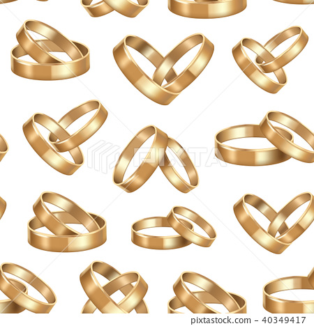 Realistic Detailed Golden Wedding Rings Stock