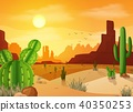 Desert landscape with cactuses on the sunset backg 40350253