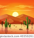 Desert landscape with cactuses on the sunset backg 40350261