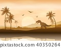 Silhouette of a dinosaur in riverbank background 40350264
