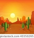 Desert landscape with cactuses on the sunset backg 40350265