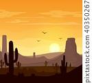 Desert landscape with cactuses on the sunset backg 40350267