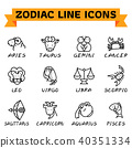 Zodiac Line Icons 40351334