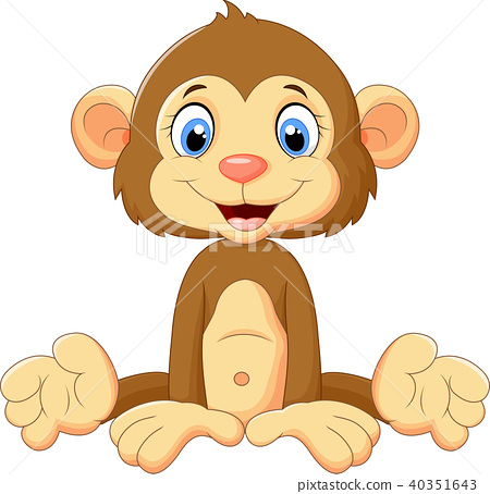 Cartoon cute monkey sitting 40351643
