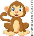 cartoon, cute, monkey 40351644