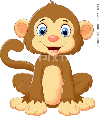 Cartoon cute monkey sitting 40351644
