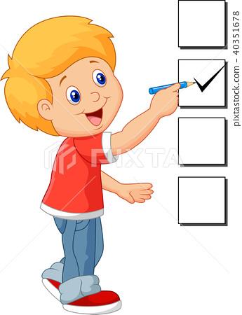 Cartoon boy with checklist 40351678