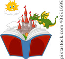 book, castle, dragon 40351695