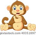 Cartoon monkey clapping hand 40351697