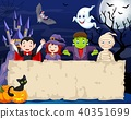 Cartoon kids with Halloween costume with blank sig 40351699