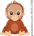 cartoon baby orangutan sitting 40351700