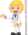 Cartoon doctor smiling and waving 40352504