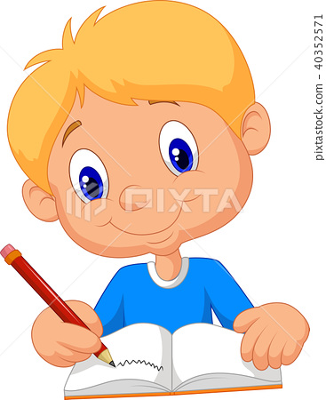 Happy boy writing in a book 40352571