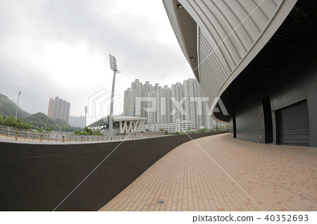 view on footbridge of modern urban city 40352693
