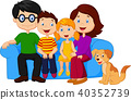 Happy family sitting on sofa  40352739