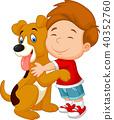 Happy young boy lovingly hugging his pet dog 40352760
