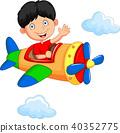 Cartoon boy riding airplane 40352775