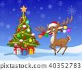 Cartoon deer standing next to Christmas tree 40352783