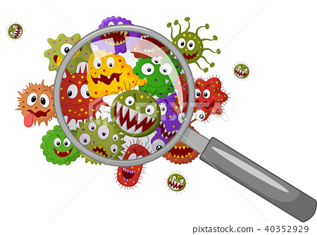 Cartoon bacteria under a magnifying glass 40352929