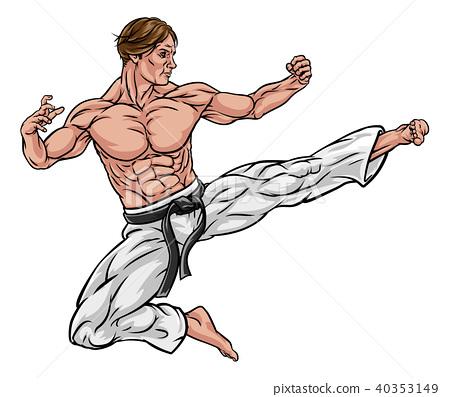 Karate or Kung Fu Flying Kick 40353149
