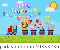 Birthday cartoon with happy animal on train 40353236