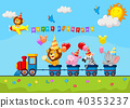 Birthday background with happy animal on train 40353237