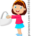 Illustration of a young girl washing her hands 40353484
