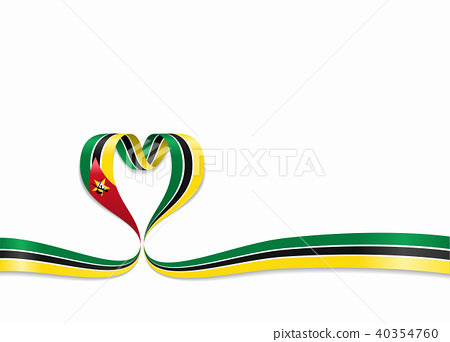 Mozambique flag heart-shaped ribbon  Vector    - Stock