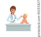 Female pediatrician doing cleaning the ear of little kid with cotton swabs at doctors office 40355827