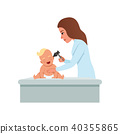 Female pediatrician in white coat checking infant baby ear with otoscope, healthcare for children 40355865