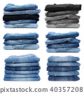 Stack of jeans isolated on white background 40357208