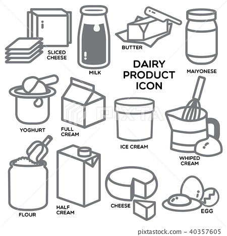 DAIRY PRODUCT ICON - Stock Illustration [40357605] - PIXTA