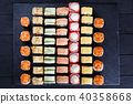 Great assortment of tasty multicolored maki sushi rolls. Japanes 40358668
