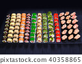 Great assortment of tasty multicolored maki sushi rolls. Sushi m 40358865