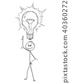 Cartoon of Man or Businessman With Idea and Shining Light Bulb Above his Head 40360272