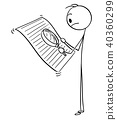 Cartoon of man or Businessman Reading Document With Magnifying Glass 40360299