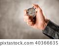 Analog stopwatch on black background 40366635