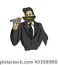 businessman with big dirty mouth holding cigarette 40368966