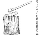 Vector Artistic Drawing Illustration of Medieval Executioner Axe or Ax and Execution Block 40371956