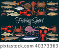 Fishing sport vector seafood poster of fresh fish 40373363