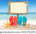 Summer beach with blank wooden poster 40374205