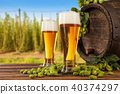 Beer glasses with hop-field on background 40374297