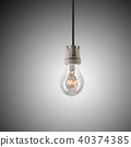 Light bulb hanging on wire 40374385