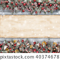 Christmas fir tree decoration with blank scroll 40374678