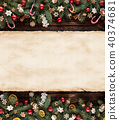 Christmas fir tree decoration with blank scroll 40374681