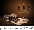 Still life art photography on human skull skeleton 40375745