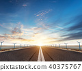 airport runway or road in the evening sunset light 40375767