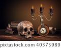 Still life art photography on human skull skeleton 40375989