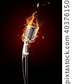 Retro singing microphone in fire 40376150