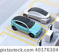 分享私有停车场的电车充电的汽车的图象 40376304